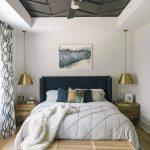 Bedroom, Wooden Floor, White Wall, Accent Ceiling, Golden Pendants, Wooden Side Cabinet, Black Headboard, Wooden Bench