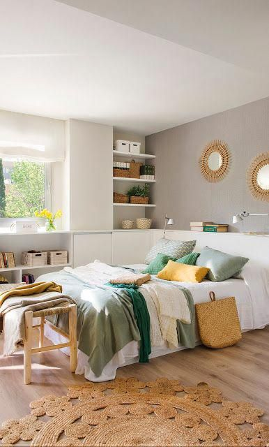 bedroom, wooden floor, white wall, white cabinet, white shelves, wooden rattan bench, white shelves near the window, rattan rug