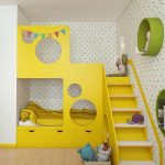 Bedroom, Yellow Bunk Bed With Yellow Drawer, Yellow White Stairs, Round Green Shelves