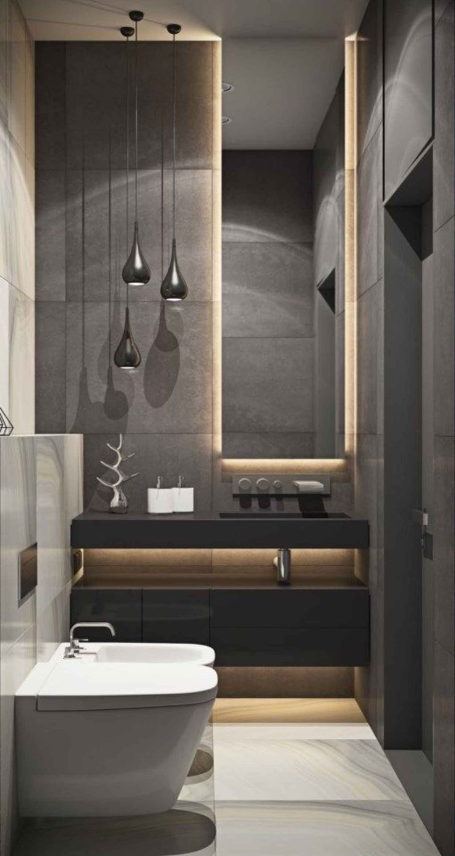 black vanity, black cabinet, black accent wall, tall mirror, LED lights, black pendant