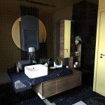 Black Vanity, Black Marble Floor, Black Marble Vanity, Wooden Cabinet, Roun Mirror, Wooden Floating Shelves, White Sink