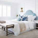 Blue Velvet Curvy Headboard, White Bed, Brown Bench With White Cushion