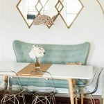 Breakfast Nook, Wooden Floor, Red Patterned Rug, Acrylic Chairs, Green Sofa, Patterned Pendant