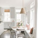 Breakfast Nook, Wooden Floor, White Bench With Drawers, Grey Chairs, Rattan Pendant, White Round Table