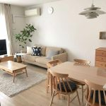 Brown Sofa, Wooden Floor, White Wall, Wooden Dining Table, Wooden Chairs, White Pendant, Wooden Coffee Table, Wooden Cabinet