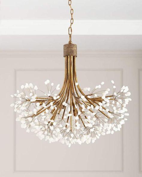 chandelier, golden lines, white details on the tip
