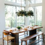 Dining Room, Concrete Floor, White Wall, Plants Pendant, Wooden Table, Wooden Bench, Wooden Chairs