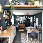 Dining Room, Grey Kitchen Floor, White Bottom Cabinet, Wooden Counter Top, Open Shelves, Wooden Table With Grey Legs, Grey Modern Chairs
