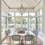 Dining Room, Hexagonal Brick Floor, White Wooden Vaulted Ceiling, Wooden Table, Grey Wooden Chairs, Chandelier