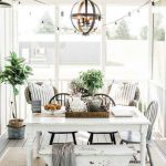 Dining Room, White Wooden Floor, White Wooden Dining Table, White Wooden Bench, Rattan Chairs, Rug, White Wooden Ceiling