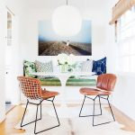 Dining Room, Wooden Floor, White Wall, White Tulip Table, White Bench With Green Chair, Leather Chair, White Pendant