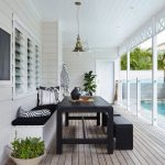 Dining Room, Wooden Floor, White Woode Shiplank, White Wooden Ceiling, White Pendant, Black Dining Set, Black Benches,