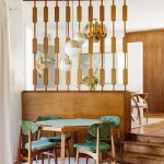 Dining Room, Wooden Floor, Wooden Partition, Pendants, Wooden Green Table, Wooden Chairs With Green Cushion
