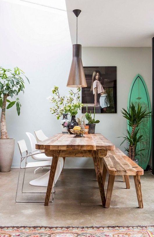 dining set, concrete floor, white wall, wooden dining table, wooden bench, white chairs, pendant