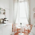 Dining Set, White Tiny Floor Tiles, White Cabinet, White Marble Top, White Wall, White Built In Bench, Orange Chairs