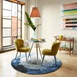 Dining Set, Wooden Floor, Blue Round Rug, Green Chairs, Pendant, White Round Table