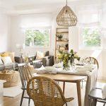 Dining Set, Wooden Floor, Wooden Table, Rattan Chair, Gey Wooden Chairs, Rattan Pendants