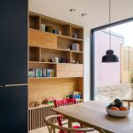Dining, Wooden Floor, Wooden Table, Wooden Rattan Chair, Wooden Shelves, Large Glass Window, Black Pendant