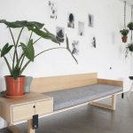 Entrance, Concrete Floor, Wooden Chair, Grey Cushion, White Wall, Plants Pot