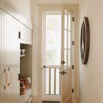 Entrance, Orange Floor Tiles, Wooden Cabinet, Bench, White Door