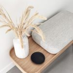 Entrance, Wooden Bench, Grey Cushion, Grey Minimalist Floor