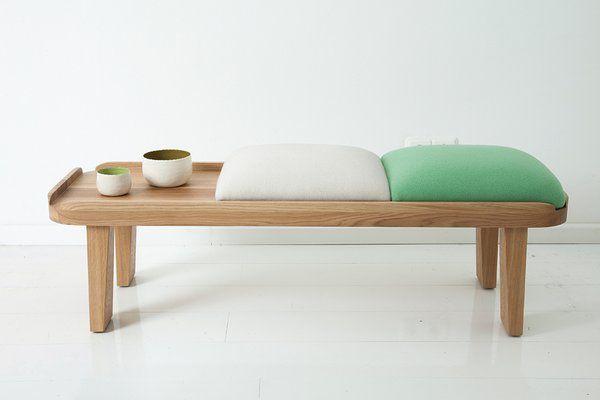 entrance, wooden bench, white cushion, green cushion