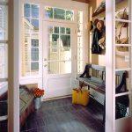 Entryway, Grey Floor, Cream Wall, White Framed Door, Bench, Chest
