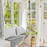 Entryway, White Wooden Floor, White Wooden Wall, White Wooden Bench, White Pillows