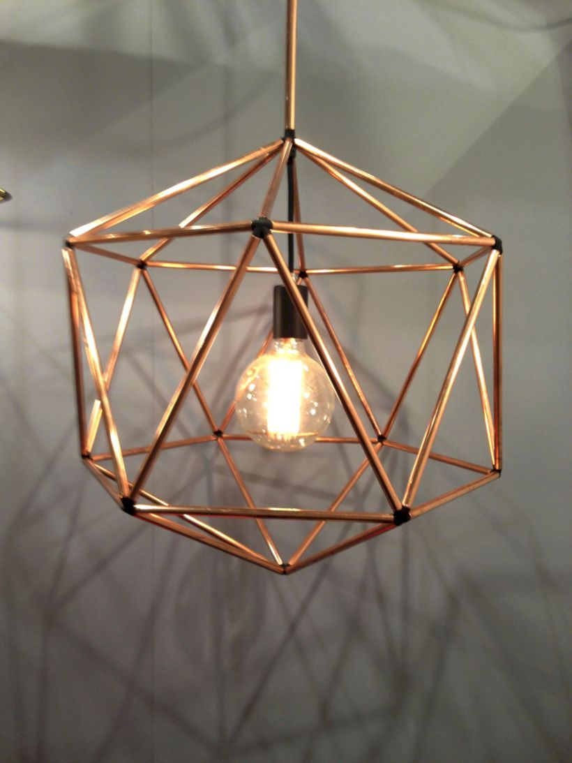 golden geometrical lined framed pendant