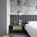 Grey Wavy Headboard, Grey Marble Top Side Table, White Pendants, White Bedding, Grey Floor