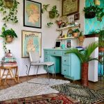 Home Office, Brown Floor Tiles, White Wall, Green Table, Paintings, Floating Shelves, White Chair, Wooden Side Table