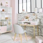 Home Office, Light Wooden Floor, Grey Exposed Wall Effect, Pink Wall, White Shelves, Modern White Table With Pink Grey Drawer