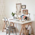 Home Office, White Floor, White Wall, White Top Table, Wooden Shelves On Leg, Grey Chair, Silver Lamp
