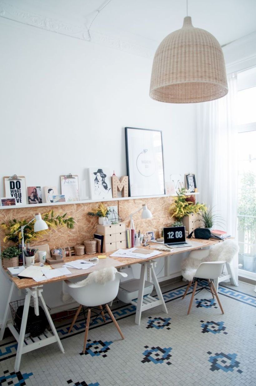 home office, white patterned floor tiles, white wall, wooden top table, white office chair, brown accent, white floating shelf, rattan pendant