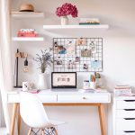 Home Office, White Wall, White Floating Shelves, White Study Table With Golden Legs, White Modern Chair, White Cabinet