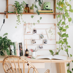 Home Office, White Wall, Wooden Study Table, Wooden Floating Shelves, Plants, Rattan Chair