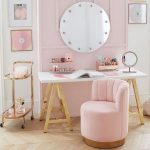 Home Office, Wooden Floor, Pink Wall, Round Mirror, White Top Table With Golden Legs, Pink Shell Chair, Golden Side Table, White Wall