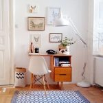 Home Office, Wooden Floor, White Wall, Wooden Small Study Table, White Midcentury Chair, White Floor Table, White Patterned Rug