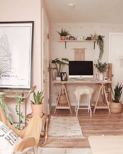 home office, wooden floor, white wall, wooden study table with triangle foot frame, wooden floating shelves, rattan pot