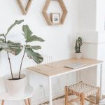 Home Office, Wooden Simple Study Table, Wooden Stool With Rattan Seat, White Pot, Floating Wooden Frame Shelves