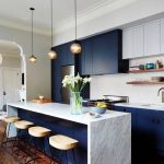 Kitchen, Blue Cabinet, Blue Island, White Marble Counter Top, Golden Pendants, Wooden Stools, Wooden Floor
