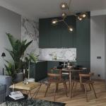 Kitchen, Dark Green Cabinet, White Marble Wall, White Marble Backsplash, Wooden Floor, Wooden Dining Set