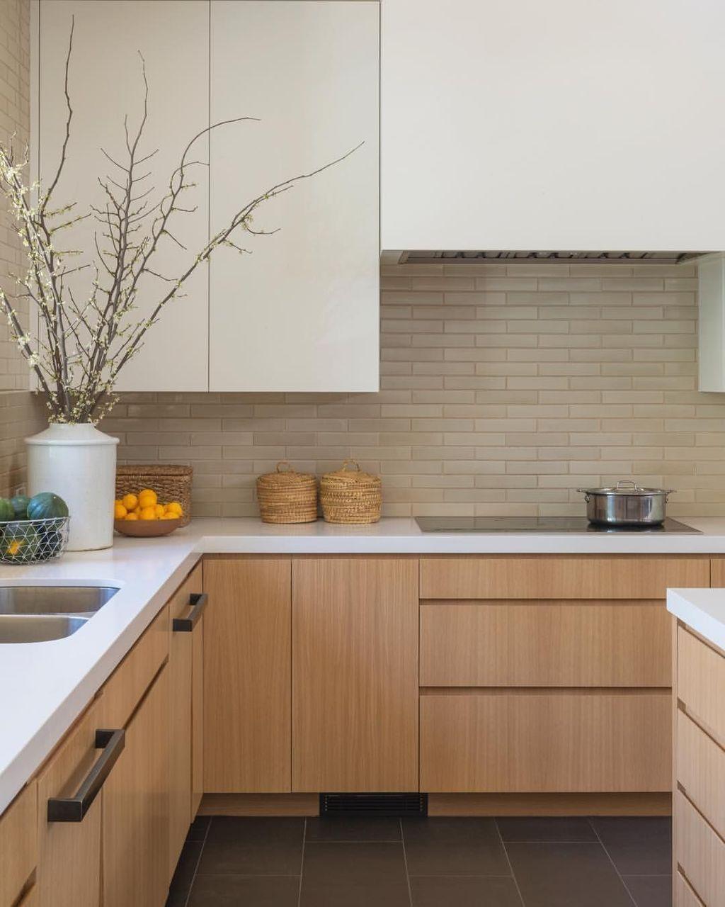 kitchen, grey floor kitchen, wooden bottom cabinet with white top, white top cabinet, grey backsplash
