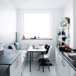 Kitchen, White Cabinet, Black Counter Top, White Floor, Bench, Black Table, Black Chair, Whtie Modern Chair, White Shelves