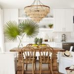 Kitchen, White Cabinet, White Shelves, Wooden Dining Table, Wooden Chandelier With Fringes