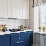 Kitchen, White Floor, Patterned Floor, White Subway Backsplash, White Top Cabinet, White Wall