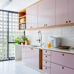 Kitchen, White Floor Tiles, White Backsplash, Pink Top Cabinet, Pink Bottom Cabinet, Wooden Shelves, White Counter Top