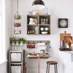 Kitchen, White Floor, White Cabinet, White Apron Sink, Floating Shelves, Black Pendant, Wooden Floating Table, Wooden Stool