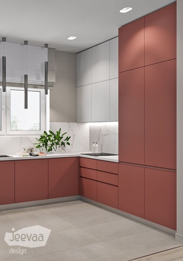 kitchen, white floor, white marble backsplash, white top cabinet, pink cabinet