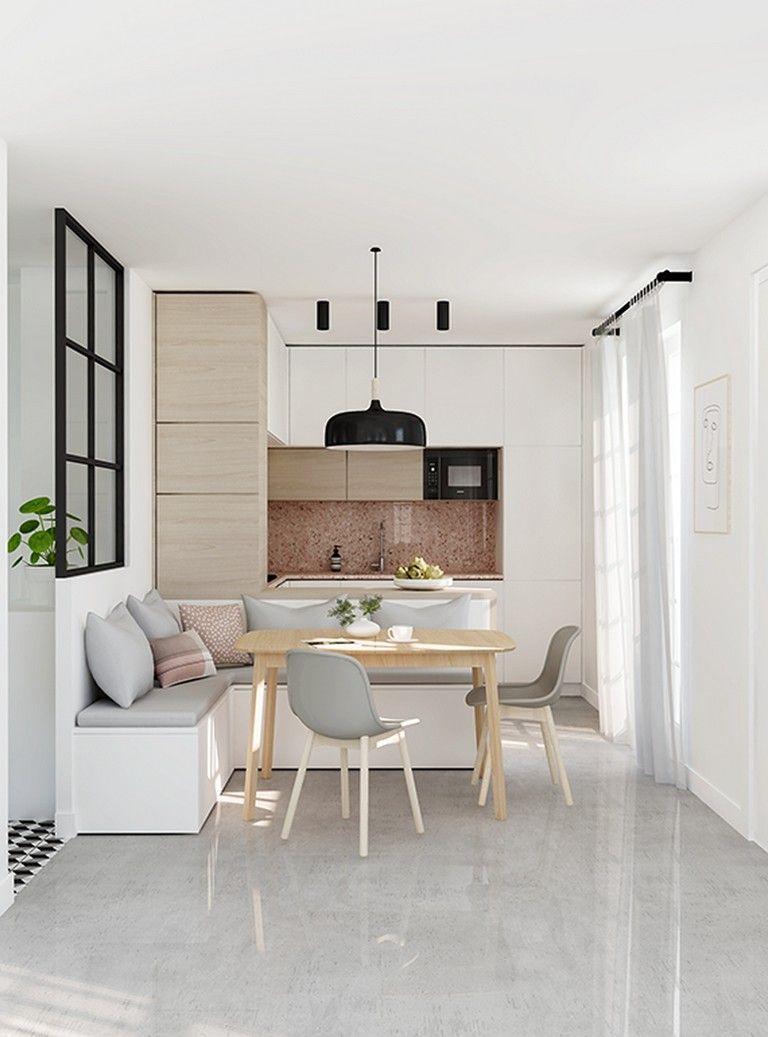 kitchen, white marble floor, white wall, white kitchen cabinet, brown marble backsplash, white bench with grey cushion, grey modern chair, wooden table
